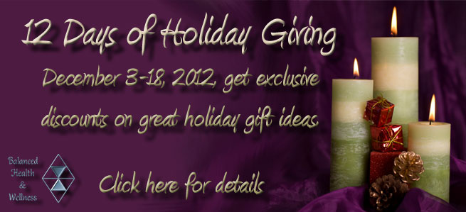 12 days of Giving banner with purple background and green candles to the right.